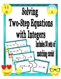Strengthen and reinforce your students ability to solve two-step equations with this quick and adaptable minimal prep activity. Use this matching game as a whole class or as part of a center activity. It works well for both struggling students and students who are in need of an extra challenge.This set includes 30 matching pairs of two-step equations, a quick answer guide, a complete answer sheet with problems worked out, a student recording log, and a page for students to work out the…