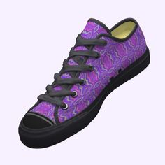 Purple 60's Retro Fractal Pattern Custom Pro Keds Lo-top Sneakers