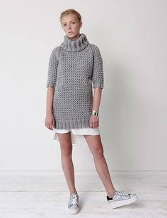 Slouchy Sweater Dress - Patterns   Yarnspirations   You'll want to wear this slouchy and cozy sweater dress everyday this fall and winter. Knit with a warm waffle texture and raglan sleeves in Bernat Roving and Bernat Satin yarns, this pattern is intermediate.