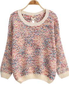 Multicolor Bandage Knit Loose Sweater
