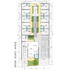 """44 Likes, 2 Comments - @idedenahrumah on Instagram: """"Kost + rumah tinggal 2 lantai - tahap pengembangan lantai dasar. Kali ini ada denah tempat kost…"""""""