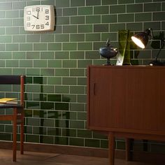 Green kitchen wall tiles gloss brick effect from V&A Puddle