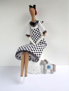 Fabric Doll Angel Gift Doll in White and Black polka dots cloth Handmade rag Doll Lovely textile doll, nice gif for girl, Valentines day