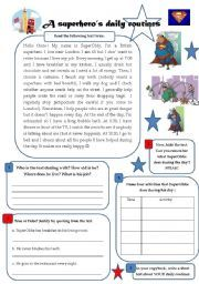 English worksheet: A superhero´s daily routines - reading/writing/speaking