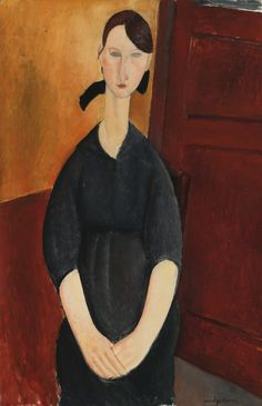 Amedeo Modigliani 1884 - 1920 PAULETTE JOURDAIN Signed Modigliani (lower right) Oil on canvas 39 1/2 by 25 3/4 in. 100.3 by 65.4 cm Painted circa 1919. $42.81 M Sotheby's 11/4/15