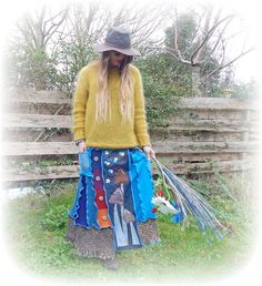 Hippie Long Skirt Upcycled Stretch Flared Mushroom Psychedelic Recycled Denim Funky Rainbow Eco Wearable Art Elastic Waist Medium - Large