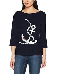 TOM TAILOR Damen Langarmshirt Basic Print Shirt, Blau (Real Navy Blue 6593),