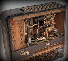This computer case was given a Steampunk make over. One of the coolest computer cases I have seen in awhile!