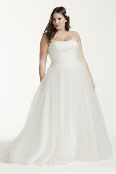 Ruched Bodice Tulle Plus Size Wedding Dress Style 9MK3576