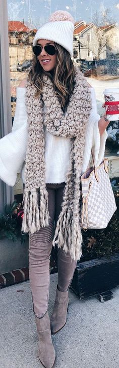 #winter #outfits white sweater with brown scarf outfit