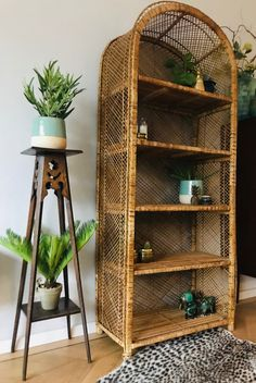 A vintage rotan cabinet is a great way to show of your beautiful plants and succulents. Bookshelf Design, Bookshelves, Interior Styling, Interior Decorating, Wicker Shelf, My Ideal Home, Hygge Home, Cabinet Decor, Rattan Furniture