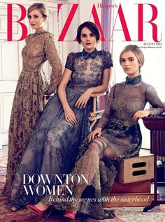 Downton Abbey girls Laura Carmichael, Michelle Dockery and Lily James wearing Valentino for Harper's Bazaar Michelle Dockery, Downton Abbey Cast, Downton Abbey Fashion, Lily James Downton Abbey, Downton Abbey Season 3, Paris Chic, Spring Outfit Women, Laura Carmichael, Robes Vintage