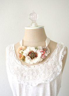 Bride Necklace, Floral Statement Necklace, Vintage Wedding, Fabric Flower Necklace