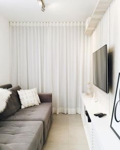 """Now the """"third bedroom"""" window is completely camouflaged! Curtain Room, Curtains, Bedroom Windows, Home Decor Fabric, Decoration, Home Furniture, Small Spaces, Interior Decorating, Sweet Home"""