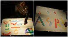 lectoescritura con la mesa de luz, crear letras con lineas y curvas