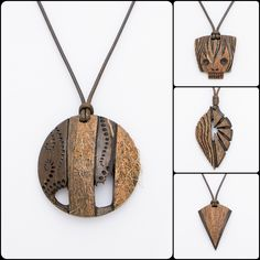 "Hand Carved Jewelry From Coconut Shell And Wood  ""ArtNutJewelry""  Pendant / Bracelet / Necklace / Jewelry Set"