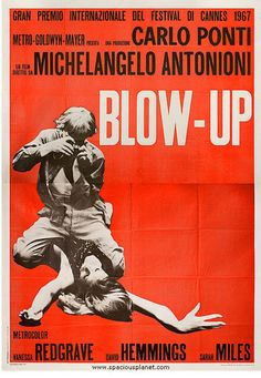"""One of the great '60s posters is from Michelangelo Antonioni's """"Blow-Up."""" That's David Hemming's photographing the long drink of water (Russian) model, Veruschka. Vanessa Redgrave, Sarah Miles, and Jane Birkin are cool in it, too."""