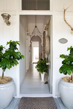 Entry The couple sanded and whitewashed the original floorboards. Beautiful entry Pinner Kara Rosenlund