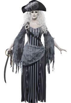 Ghost Ship Princess Costume, Ghost Pirate Lady Fancy Dress - Halloween Costumes at Escapade™ UK