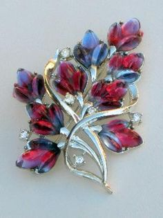 Vintage Coro Molded Glass Pink Purple Blue Leaf Brooch