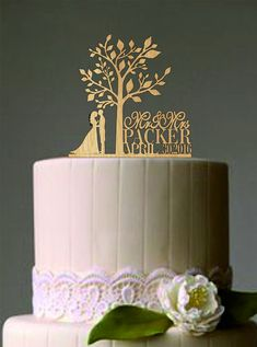 Rustic Wedding Cake TopperPersonalized by caketoppersshop667