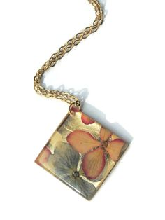 Pressed hydrangea necklace, pink and blue hydrangea jewelry, golden square pendant necklace, gold filled, resin pressed flower jewelry