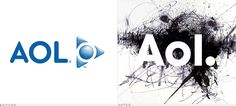 """AOL logo evolution from 2009 to current Helvetica font with changing """"dynamic"""" background"""