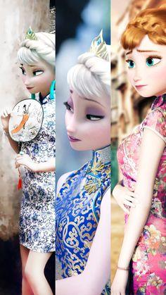 elsa,anna chinese dress