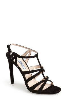 "Prada Strappy Suede Sandal (Women)  5"" heels. Doesn't look like they. are that high