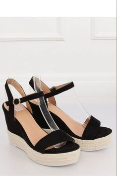 Ψηλοτάκουνες εσπαντρίγιες με λούρακι - Μαύρο Espadrilles, Wedges, Shoes, Fashion, Espadrilles Outfit, Moda, Zapatos, Shoes Outlet, Fashion Styles