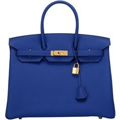 Pre-Owned Hermes Blue Electric Togo Birkin 35cm Gold Hardware ($23,250) ❤ liked on Polyvore featuring bags, handbags, blue, leather purse, multi colored leather purses, real leather purses, colorful leather handbags and multi colored leather handbags