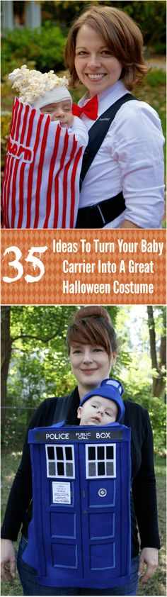 35 Ideas To Turn Your Baby Carrier Into A Great Halloween Costume #halloween #costumes #babies
