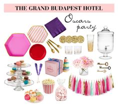 """The Grand Budapest Hotel Oscars Party"" by citruschic ❤ liked on Polyvore featuring interior, interiors, interior design, home, home decor, interior decorating, Meri Meri, Kate Spade, Home Essentials and oscarviewingparty"