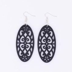 Amazon.com: Black Filigree Earrings Wood Oval Antique Bronze Silver: Handmade