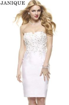 White strapless cocktail prom dresses by Janique J154