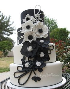 Modern Black & White Wedding Cake - The Leather and Lace Cake by Elegant Cake Creations AZ, via Flickr