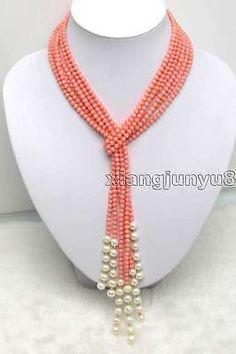 SALE 47 inch (120CM) 3 Strands 4.5mm Pink Coral And White Pearl Necklace -ne9207                                                                                                                                                     More