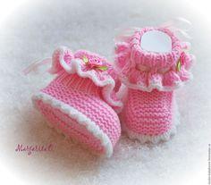 Купить Пинетки для девочки - розовый, пинетки, пинетки для новорожденных, пинетки вязаные, пинетки для девочки