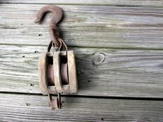 Antique Wooden Double Wooden Pulley / Block by CreekLifeTreasures, $36.00