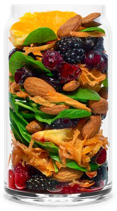 Real Smoothie Beta Berry Recipe: Carrot, Spinach, Orange, Strawberry, Blueberries (freeze dried when not in season) Almonds