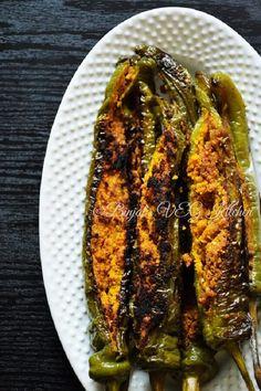Bharwan Mirch from Rajasthani cuisine. Bharwan Mirch stuffed with chickpeas flou…