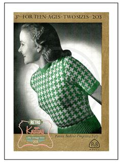 1940s Dog Tooth Sweater Knitting Pattern  Instant by MyVintageWish