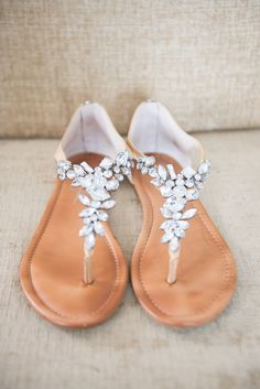 Neutral Crystal-Detailed Wedding Sandals   Mikkel Paige Photography https://www.theknot.com/marketplace/mikkel-paige-photography-new-york-ny-428077  