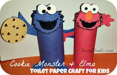 Cheap Elmo & Cookie Monster Toilet Paper Roll Crafts For Kids - Sassy Dealz