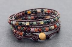 Fancy Jasper Brown Leather Tri Wrap Bracelet by XtraVirgin on Etsy, $19.00