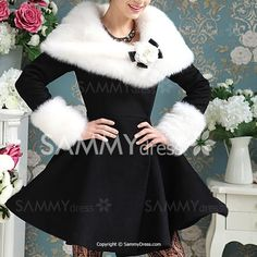 Noble Turn-Down Collar Long Sleeve Faux Fur Spliced Flounced Coat For Women