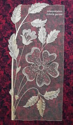 Bobbin Lace Patterns, Bead Embroidery Patterns, Couture Embroidery, Beaded Embroidery, Embroidery Stitches, Hand Embroidery, Machine Embroidery, Lace Art, Creative Embroidery