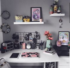 Concepts Associated To Anime For Your Desk; anime associated ids in your desktop; Study Room Decor, Room Ideas Bedroom, Cute Room Decor, Kawaii Bedroom, Gaming Room Setup, Game Room Design, Gamer Room, Aesthetic Room Decor, Decorating Rooms
