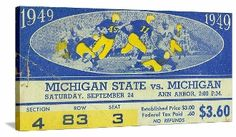Michigan football gifts! The best football gifts made from authentic vintage football tickets like this 1949 Michigan football ticket canvas art. http://www.shop.47straightposters.com/1949-Michigan-vs-Michigan-State-49MICHMSU.htm