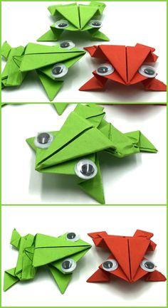 Rana de papel saltarina papiroflexia facil Origami, Paper Folding, Vertebrates, Frogs, Crafts For Kids, Tutorials, Paper Envelopes, Blue Prints, Origami Paper